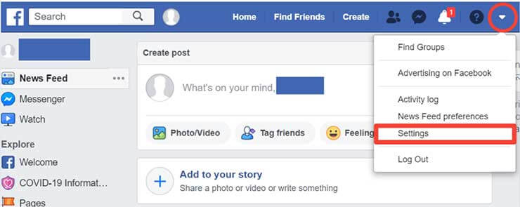 Facebook Account Permanently Delete - step 1
