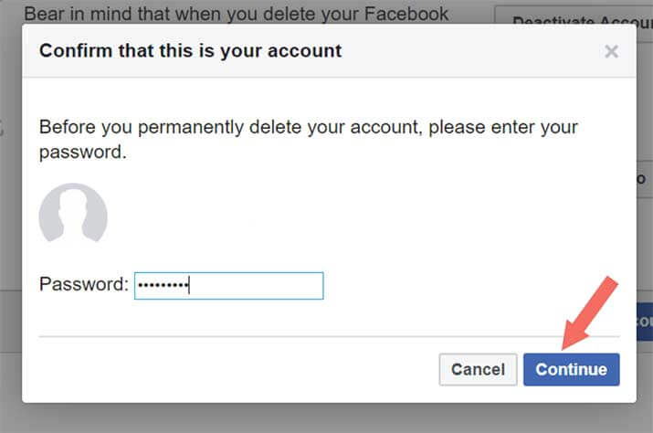 Facebook Account Permanently Delete - Step 5