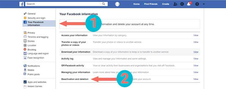 Facebook Account Permanently Delete - step 2