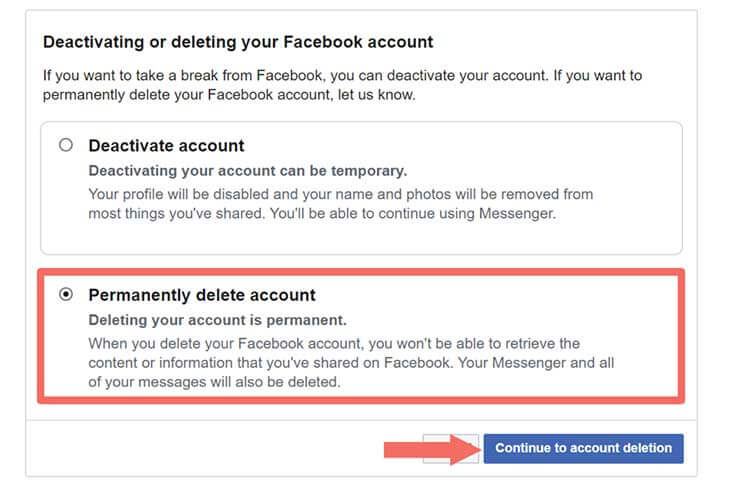 Facebook Account Permanently Delete - Step 3