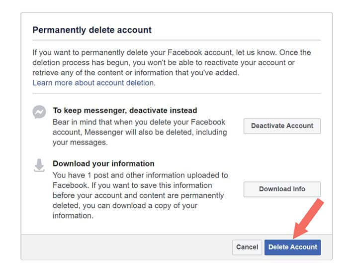 Facebook Account Permanently Delete - Step 4