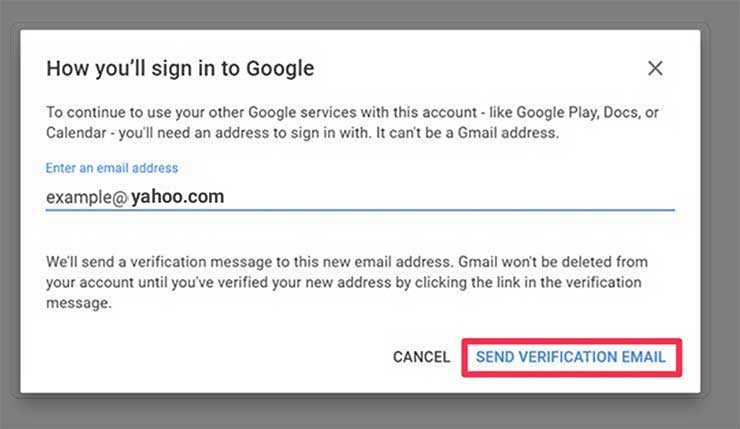 Click on Send Verification Email